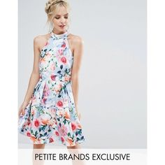Paper Dolls Petite Floral Printed High Neck Prom Dress ($82) ❤ liked on Polyvore featuring dresses, multi, petite, halter-neck dress, halter dress, halter neck prom dress, petite dresses and high neck halter dress