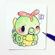 link in bio you're interested in a pokemon commission ^o^ - this is a hard tip tombow brush pen, which is waterproof and wonderful for inking watercolor art c: Kawaii Drawings, Cute Drawings, Kawaii Art, Kawaii Anime, Leprechaun, Pokemon Mignon, Cute Kawaii Animals, Anime Qoutes, Pokemon Special