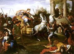 With the death of Servius Tullius, Tullia I and Tarquin the Proud were to rule Rome. Tarquin hurled Tullius down the steps of the Senate house into the street, at which time Tullia ran over his body with her carriage. The place this brutal act occurred is now known as Crime Alley (vicus sceleratus).