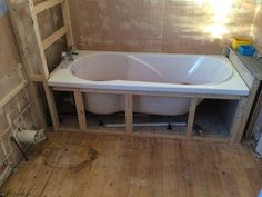 Bath Supporting Frame Before With Bathroom Installation In Leeds Bad Inspiration, Bathroom Inspiration, Modern Bathroom, Small Bathroom, Bathroom Tubs, Bath Panel Storage, Bath Support, Drop In Bathtub, Diy Bathtub