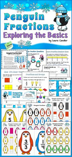 Penguin Fractions: Exploring the Basics from Laura Candler - Activities, games, and fraction cards to practice basic fraction concepts including fractions on a number line. Aligned with 3rd grade CCSS; nice review for 4th and 5th grade $ #LauraCandler