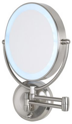 Lighted wall mounted magnifying mirrors for bathrooms google cordless led pivoting 9 wide satin nickel wall mount mirror aloadofball Gallery