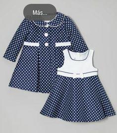 Gerson & Gerson Navy Polka Dot Dress & Coat - Infant, Toddler & Girls by Gerson & Gerson Little Dresses, Little Girl Dresses, Girls Dresses, Toddler Outfits, Kids Outfits, Baby Outfits, Little Girl Fashion, Kids Fashion, Toddler Fashion