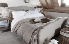 pretty neutral upholstered French styled bed - The Paper Mulberry: Essentially French! Home Bedroom, Girls Bedroom, Master Bedroom, Bedroom Decor, Bedroom Ideas, Bedroom Interiors, Bedroom Stuff, Guest Bedrooms, Guest Room