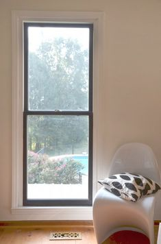 Framed Windows DIY Black Window Frames Tagged at simplechurch. Black Window Trims, Black Windows, Wood Windows, Vinyl Windows, Best Interior Design, Interior Paint, Painted Window Frames, Interior Window Trim, Interior Shutters