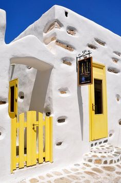 Antiparos, Cyclades islands, Greece (just opposite from Paros, less than 30 minutes boat trip away. Mykonos, Paros, Mellow Yellow, Blue Yellow, Greece Travel, Greek Islands, Windows And Doors, The Places Youll Go, Wonders Of The World