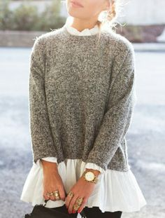 Stylish Wome's Long Sleeve Flounce Splicing Pullover Sweater Sweaters & Cardigans | RoseGal.com Mobile