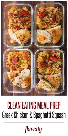 meal prep plans The best ever greek chicken recipe using bone in chicken breasts served with baked spaghetti squash tossed with lots of veggies. This chicken meal prep recipe makes 5 se Paleo Meal Prep, Lunch Meal Prep, Meal Prep Bowls, Easy Meal Prep, Dinner Meal, Fitness Meal Prep, Clean Eating Recipes, Clean Eating Snacks, Lunch Recipes
