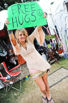 Spread the good vibes at any music fest with free hugs! Warped tour