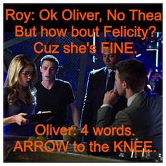I think Diggle is waiting for this question to be asked.  #Arrow #Roy #Olicity