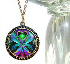 Heart Chakra Jewelry Twin Flames Necklace Angel by primalpainter, $28.00