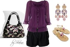 purple gypsy top for a classy casual look, created by shauna-rogers on Polyvore