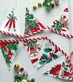Bunting made from vintage holiday table cloths and fabrics - Into Vintage: 'Tis the Season
