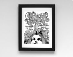 Created My Own World is a signed A4 unframed digital print of an original fine line pen drawing.