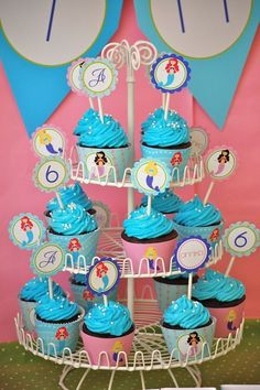 Little Mermaids Custom Cupcake Toppers and by FrogPrincePaperie, $10.00