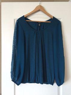 Alfani Long Sleeve Turquiose Blouse with Sheer Sleeves Medium #Alfani #Blouse #Casual