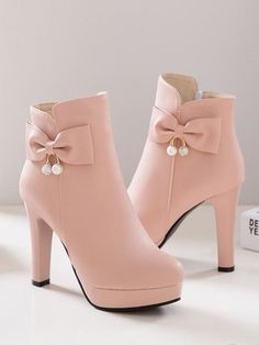 4310662302 New Pink Round Toe Chunky Bow Fashion Ankle Boots