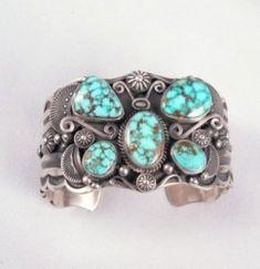 Delbert Gordon Navajo Turquoise Butterfly Silver Bracelet