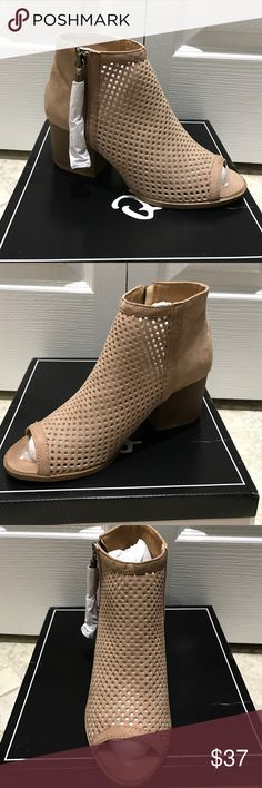 Taupe suede mesh open tie bootie NWT. I purchased these on Poshmark but they are too big. Never wore except to try on. Does size 7 but would fit 7.5. Hoping to sell so I can purchase a 6.5 as these are cute and feel comfy. 🚫trades. Price is firm. I am listing for what I purchased for. Shoes Ankle Boots & Booties