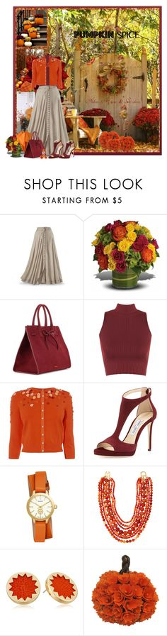 """""""Untitled #1455"""" by wendyfer on Polyvore featuring Mansur Gavriel, WearAll, Jimmy Choo, Tory Burch, Kenneth Jay Lane and House of Harlow 1960"""