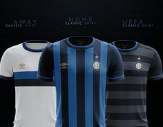 Inter classic shirts inspired by: 1994 Home (Umbro) 1964 Away (unbranded) 1998 UEFA (Umbro). Soccer World, Football Kits, Soccer Shirts, National Football League, Home And Away, Behance, Concept, Classic, Sports