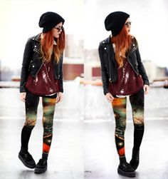 I'm down with the galaxy leggings, down with the leather jacket, down with the red hair. Love this look!