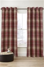 Red Woven Check Eyelet Curtains
