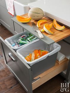 work cook kitchen tour organize recycling compost storage pull out