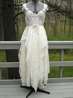 XL Upcycled blush and cream tattered Grecian bride by LilyWhitepad