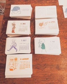 Creative Calendar, Calendar Design, Creative Cards, Stationery Design, Cute Art, Postcards, Bullet, Arts And Crafts, Doodles