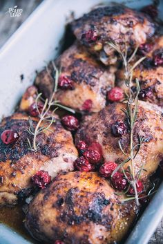 Thinking of a new take on roasted chicken? Cranberries and rosemary combined give this dish a distinct winter feel.