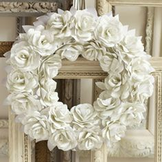 Make a DIY paper rose wreath, perfect for decorating your wedding!