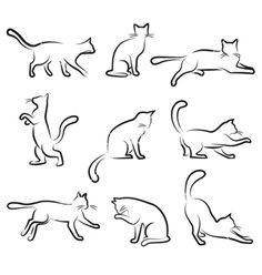 Cat drawing set vector 250750 - by jackrust on VectorStock® - Zeichnen - Katzen Tattoo Outline Drawing, Outline Drawings, Cat Tattoo, Animal Drawings, Dog Outline, Drawing Art, Draw Cats, Tattoo Pitbull, Silhouette Chat