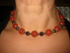 STUNNING Vintage Red VENETIAN MURANO Art Glass Choker Necklace