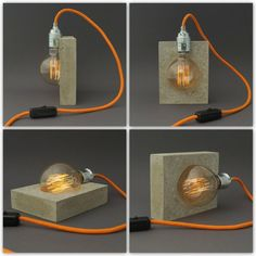 """Leuchtmittel) The """"alba"""" concrete lamp seems to defy gravity. Thanks to a small magnetic trick, the socket, including the vintage light bulb (included), always keeps its shape Concrete Light, Concrete Lamp, Concrete Design, Vintage Light Bulbs, Vintage Lighting, Lampe Decoration, Suspension Metal, Farmhouse Chandelier, Cement Crafts"""