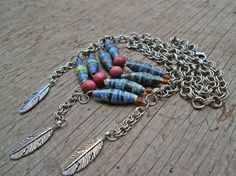Native American pettorale - carta perla collana - gioielli di perline di carta - Boemia collana - Upcycled, riciclati, reimpiegato - Boho Chic