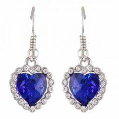 Aaishwarya True Blue Heart Crystal Earrings #earrings #earringsforwomen #danglers #heartshapedearrings #crystalearrings