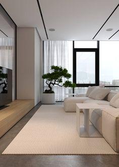 Condo Living Room, Living Room Interior, Living Room Decor, Contemporary Apartment, Contemporary Interior Design, Contemporary Living Room Designs, Living Room Lighting Design, Sala Grande, Japanese Home Decor