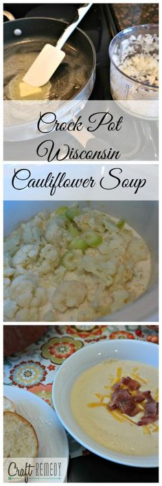 My favorite and perfect for a cool fall evening! Creamy Crock Pot Wisconsin Cauliflower Soup tastes like ZUPAS and uses frozen cauliflower florets! craftremedy.com