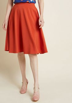 e7412d634514 ModCloth Just This Sway A-Line Skirt in Orange Burnt Orange Skirt Pants