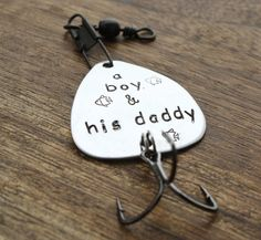A boy and Hs Daddy Fishing Lure Gift for Daddy Fishing Lure Personalized Engraved Father's Day www.sierrametaldesign.com $24