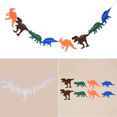 Dinosaur Hanging Garland Banner Party Supplies Home Decor Paper Bunting 1 Set #ebay #Home & Garden