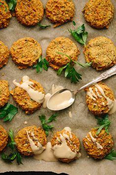 Vegan GF Pumpkin Lentil Falafel | Fall falafel made with red lentils, pumpkin purée, fresh herbs, aromatic spices, oat flour, lemon juice, onion + garlic!