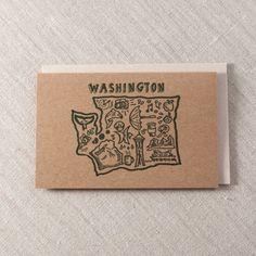 WA Illustrations - Letterpress Greeting Card, By Pike Street Press - Seattle