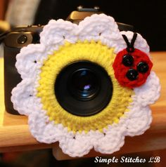Crochet Flower Camera Lens Buddy by SimpleStitchesLB on Etsy, $10.00