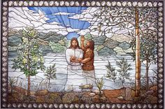 """Nauvoo Illinois LDS temple stained glass depiction of Christ's baptism  - MormonFavorites.com  """"I cannot believe how many LDS resources I found... It's about time someone thought of this!""""   - MormonFavorites.com"""