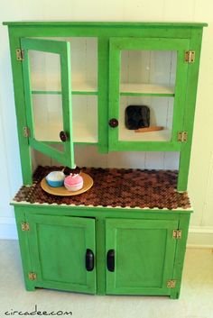 child's cupboard in ASCP Antibes Green Children Furniture, Small Furniture, Furniture Projects, Painted Furniture, Antibes Green, Dolly House, Kids Dishes, Primitive Furniture, Toy Kitchen