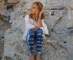 Maluhii Ocean Moon tie dye Leggings.  This style features a deep blue and white tie dye striped design. Please note that no two leggings will be exactly