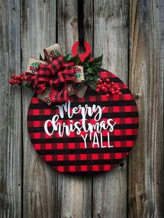 Most current No Cost Buffalo plaid door hanger Ornament door hanger Red truck Christmas Signs Wood, Rustic Christmas, Christmas Wreaths, Diy Christmas, Buffalo Plaid Christmas Ornaments, Advent Wreaths, Christmas Tables, Scandinavian Christmas, Modern Christmas