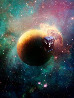 Doctor Who TARDIS Space Scene 10.5 x 14 Print. $14.00, via Etsy.